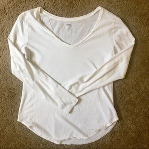Old Navy Relaxed White Long Sleeve Tee